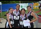 Kayla Henry, Jasmine Taylor, Margaret Phillips and Kelsey Stone with their 5th Place Medals in the 4x100m Relay